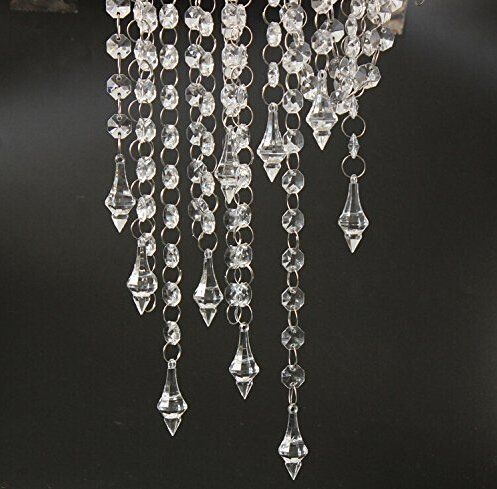 33 Feet Clear Acrylic Crystal Garland Strand Diamond Chandelier Centerpieces Manzanita Haning Wedding Party Decoration Dms