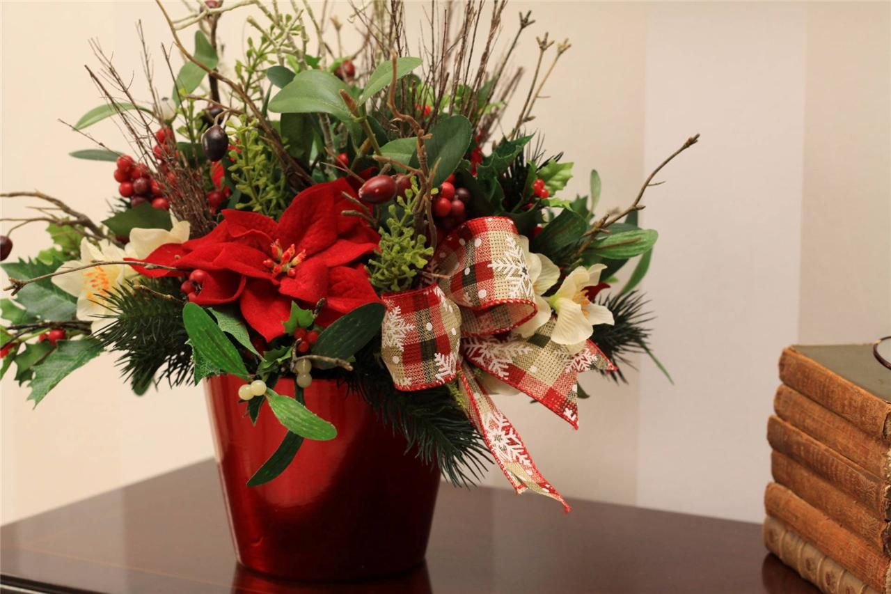 Christmas arrangement Artificial Silk Flower Arrangement