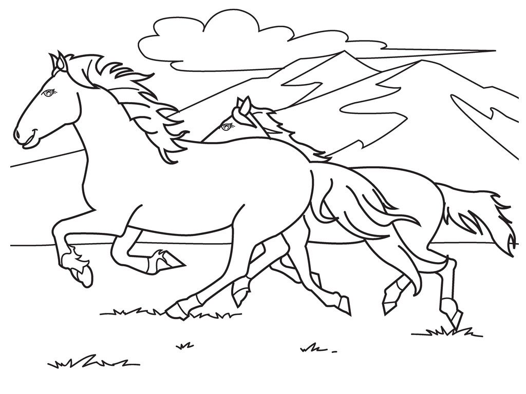 Running White Horse Coloring Pages 1 A Pinterest White