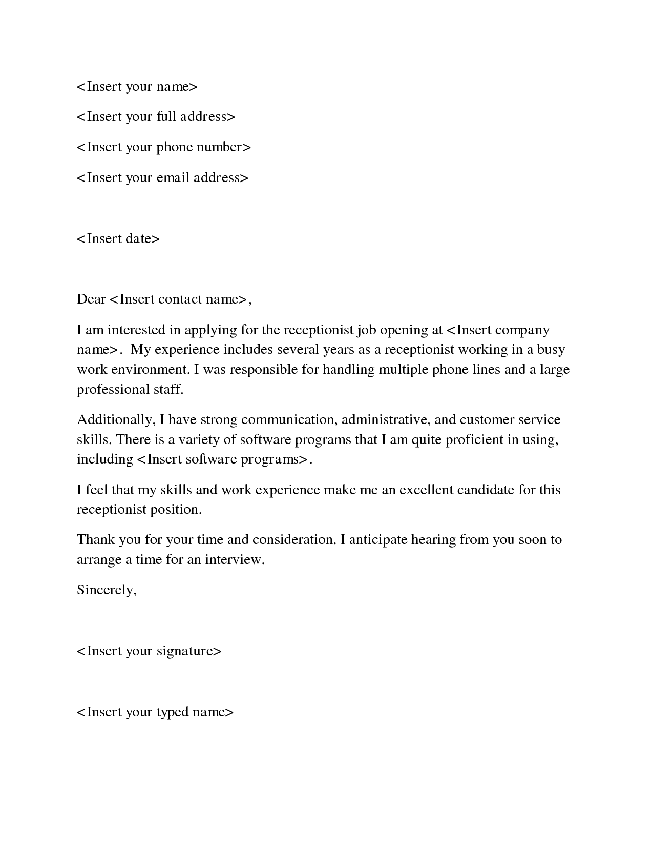 receptionist sample cover letter cover letter examples