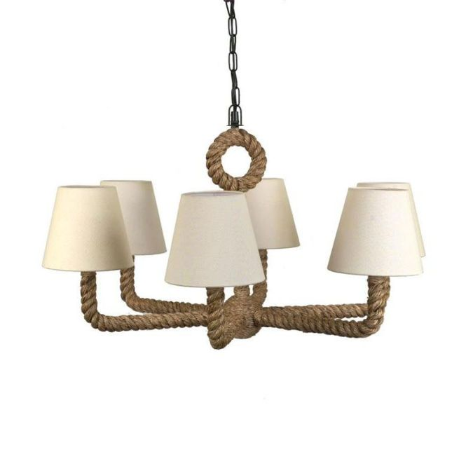 Rope Wred Chandelier With Linen Shade