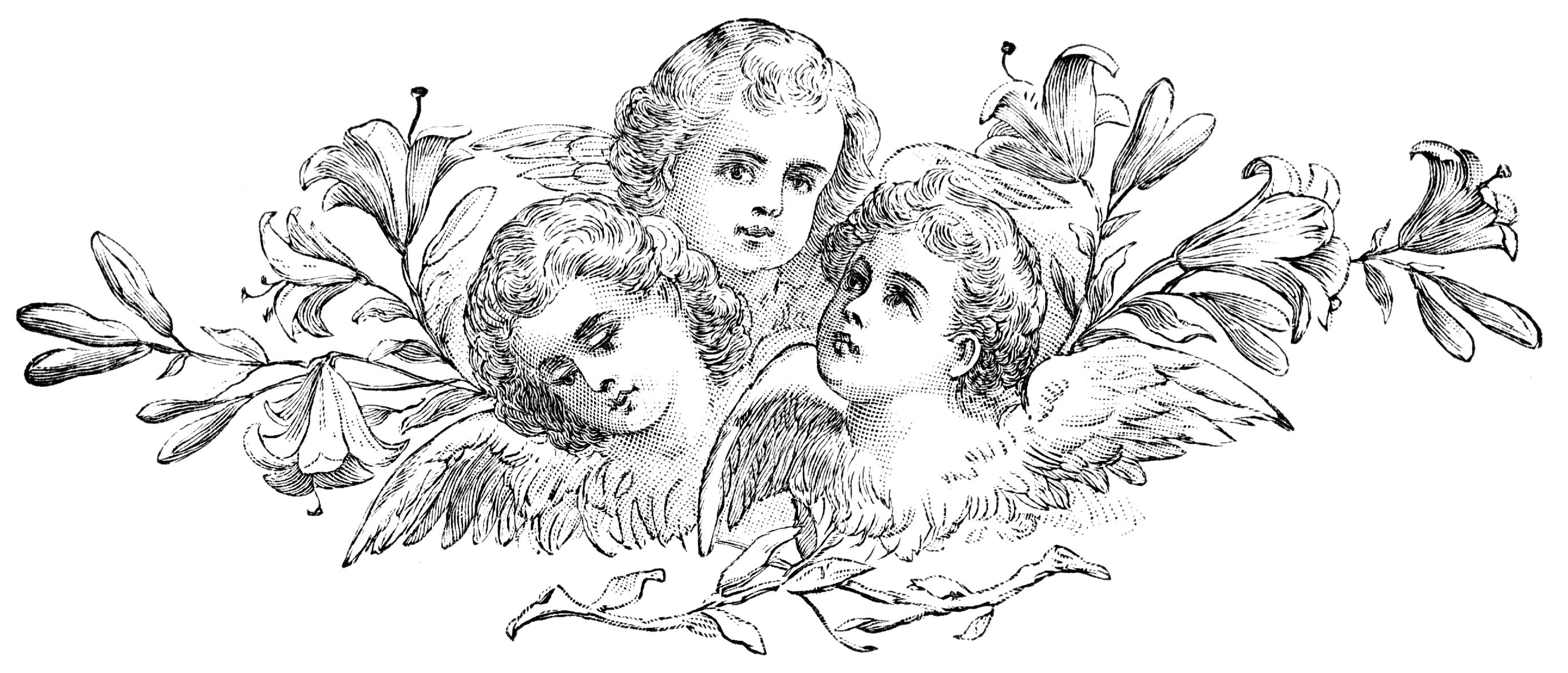 Free Gothic Cherubs Clip Art Decorative Element