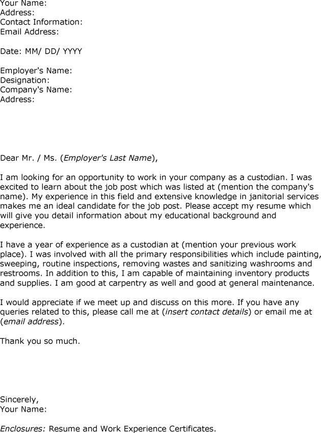 Sample Resume Janitorial Position. custodian cover letter sample ...