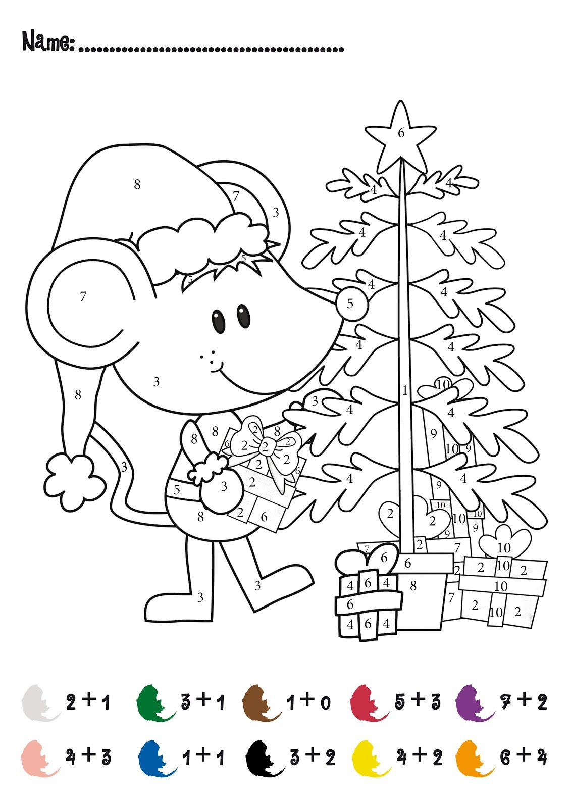 CHRISTMAS Color by Numbers Printables Christmas Addition