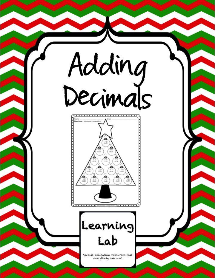*FREEBIE* Christmas tree Adding Decimals worksheet and