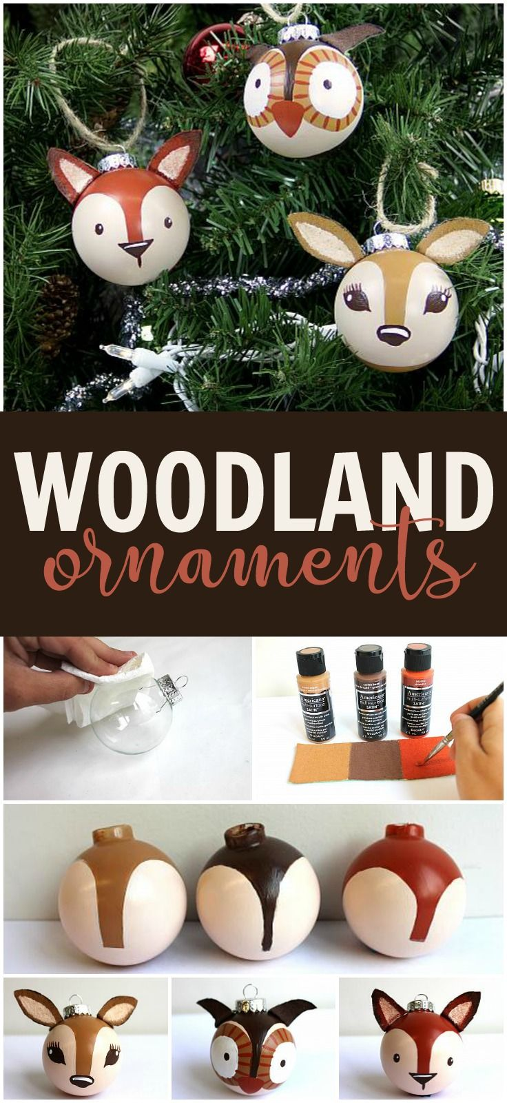 Turn a plain round ornament into a cute woodland creature