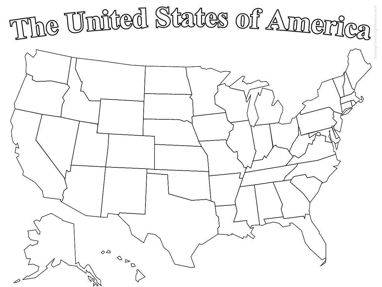 United States Of America Map Coloring Page