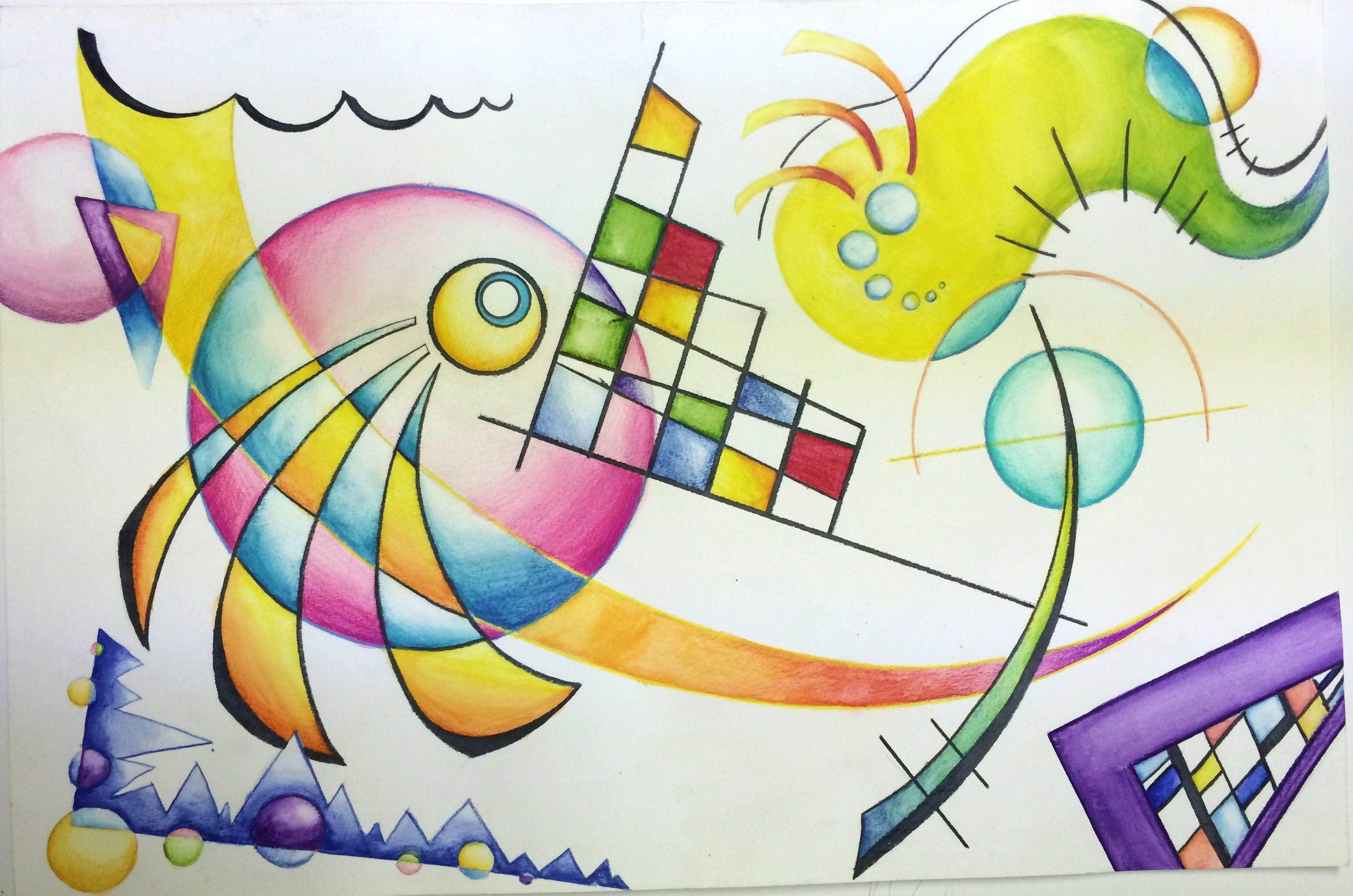 Wassily Kandinsky Non Objective Color Pencil And