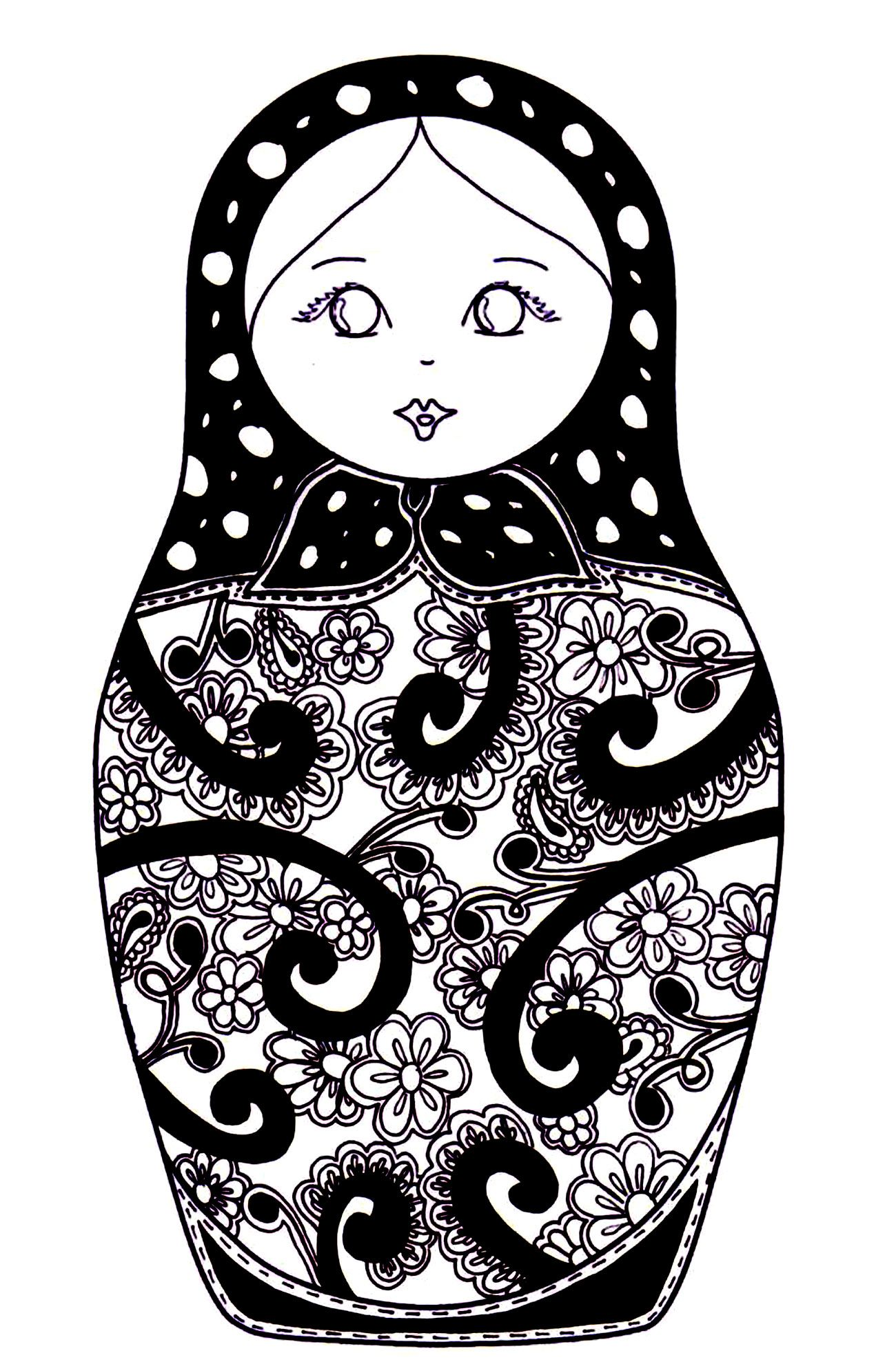 Free Coloring Page Coloring Russian Dolls 10 Coloring Russian Dolls 10