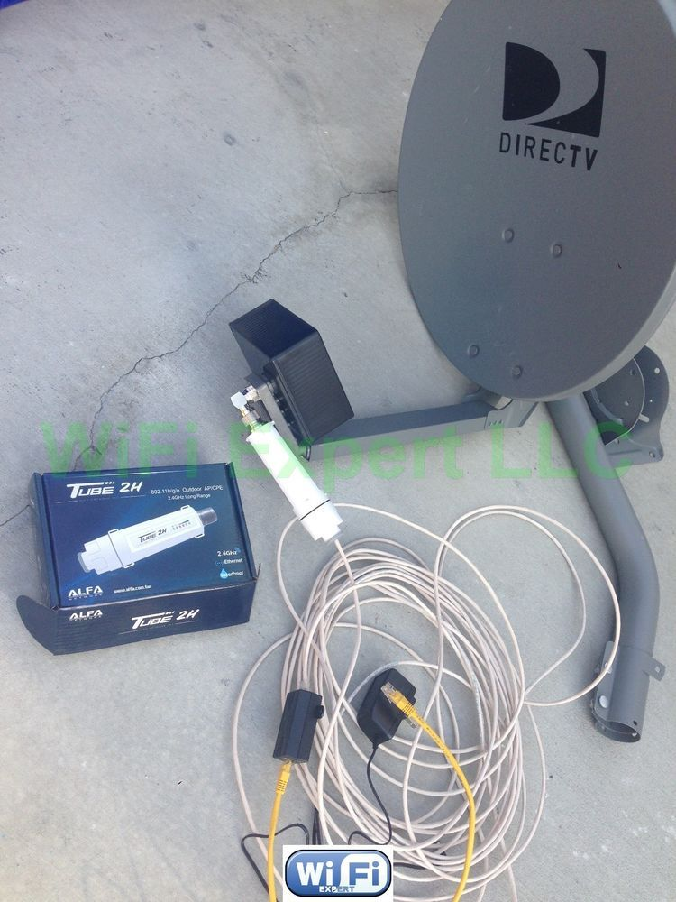 NO Dish BiQuad WiFi Antenna + ALFA PoE TUBE 2H Outdoor
