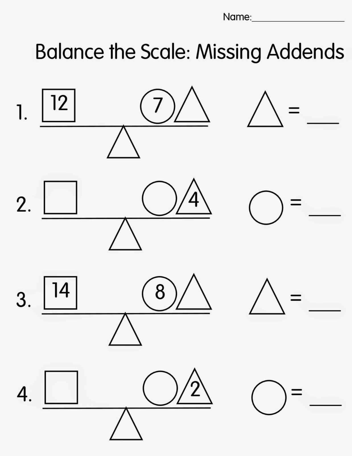 Free Balance The Scale Missing Addends