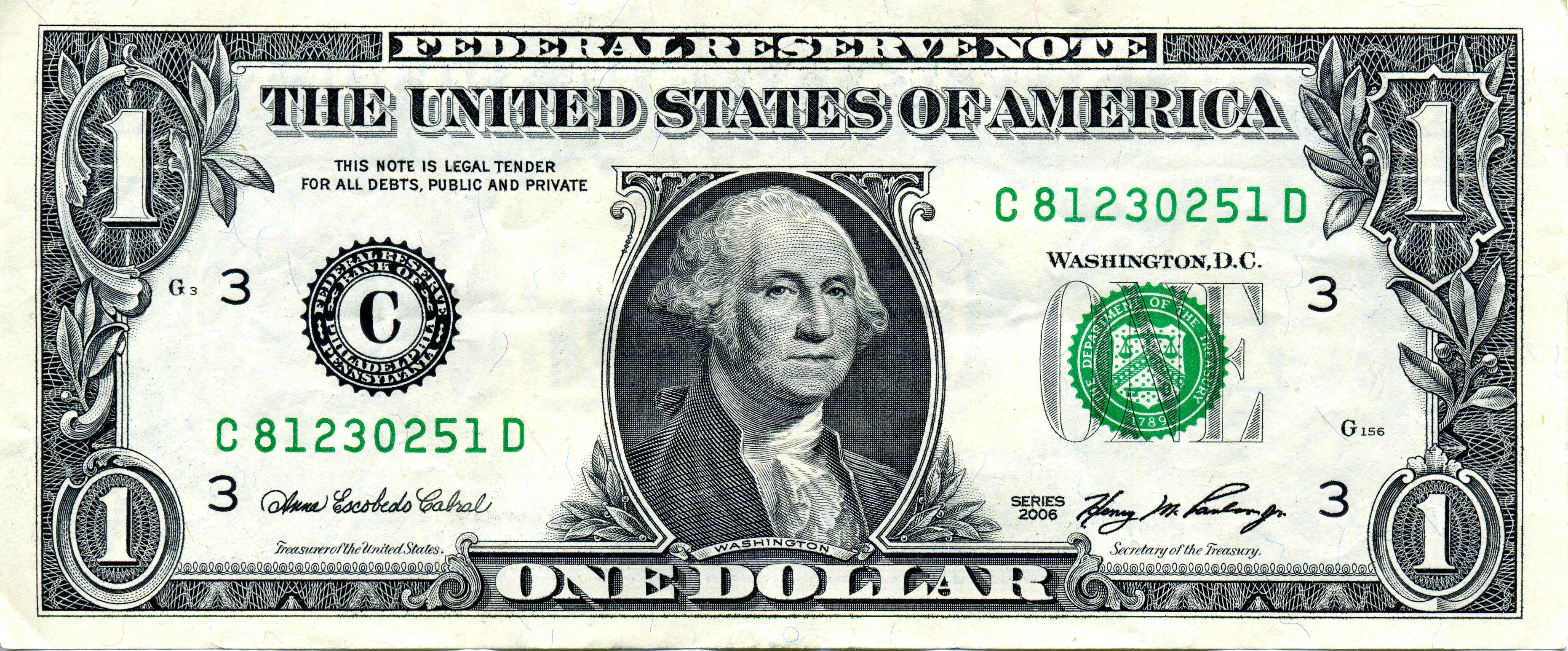 George Washington On One Dollar Bill