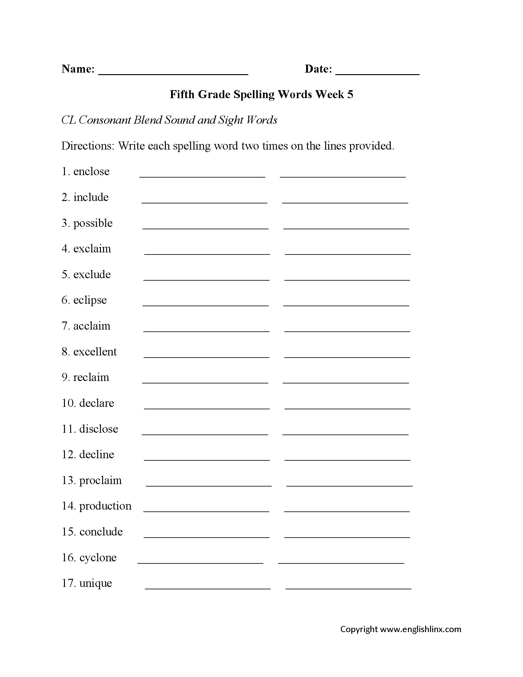 Week 5 Cl Consonant Fifth Grade Spelling Worksheets