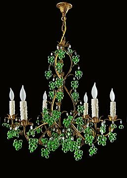 Italian Gilt Tole Chandelier With Green Glass