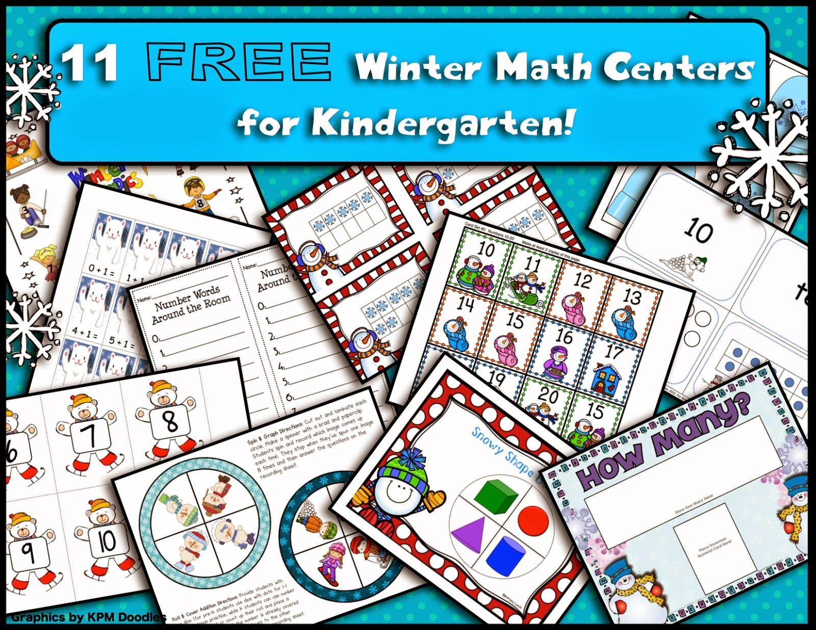 11 Free Winter Math Centers For Kindergarten