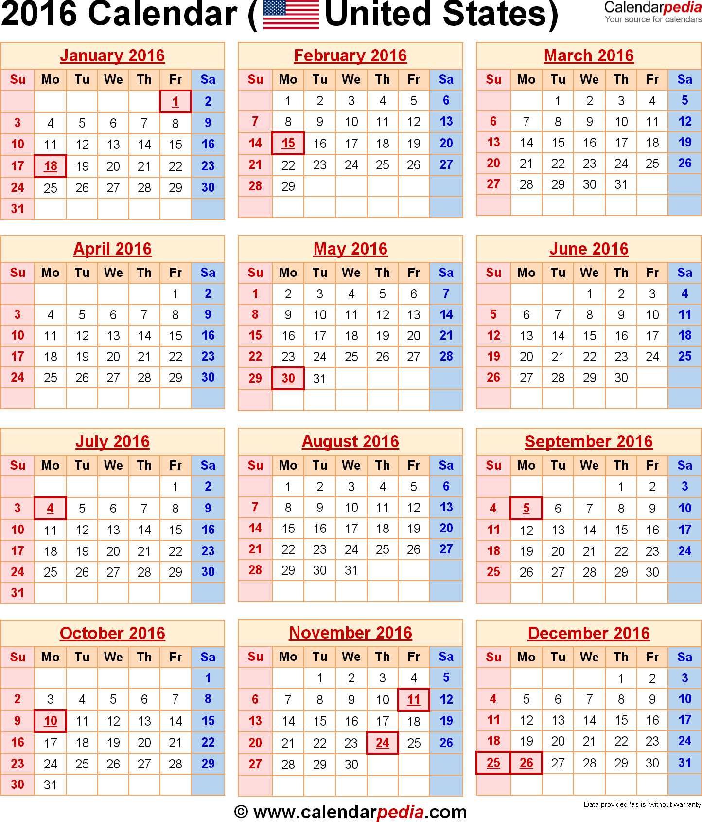 Calendar With Federal Holidays Amp Excel Word Templates