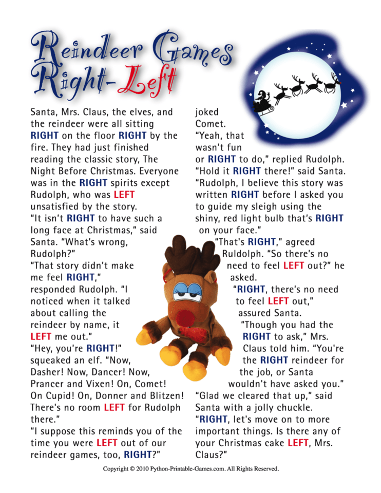 Reindeer Games RightLeft Family Printable Christmas Game