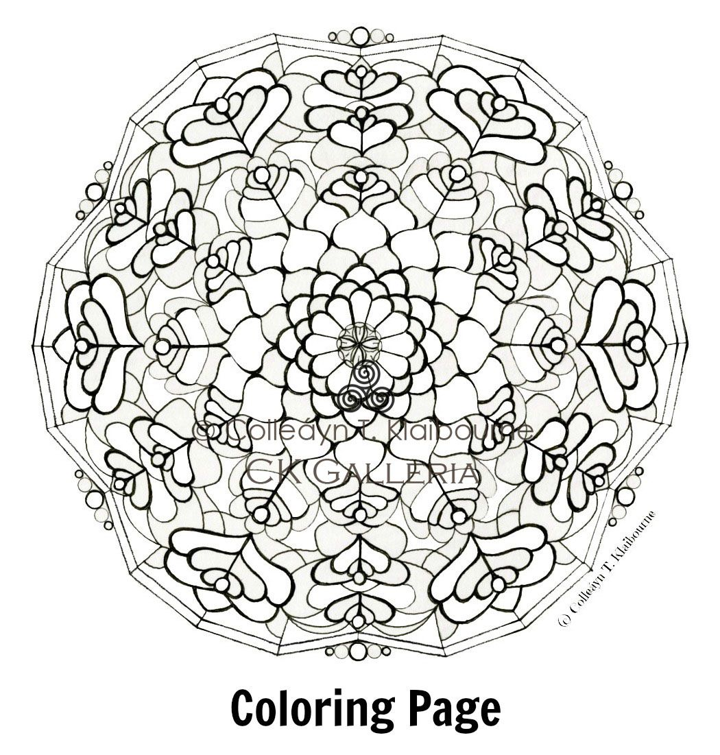 Stained Glass L Mandala Coloring Page Gumroad Square Pdf With