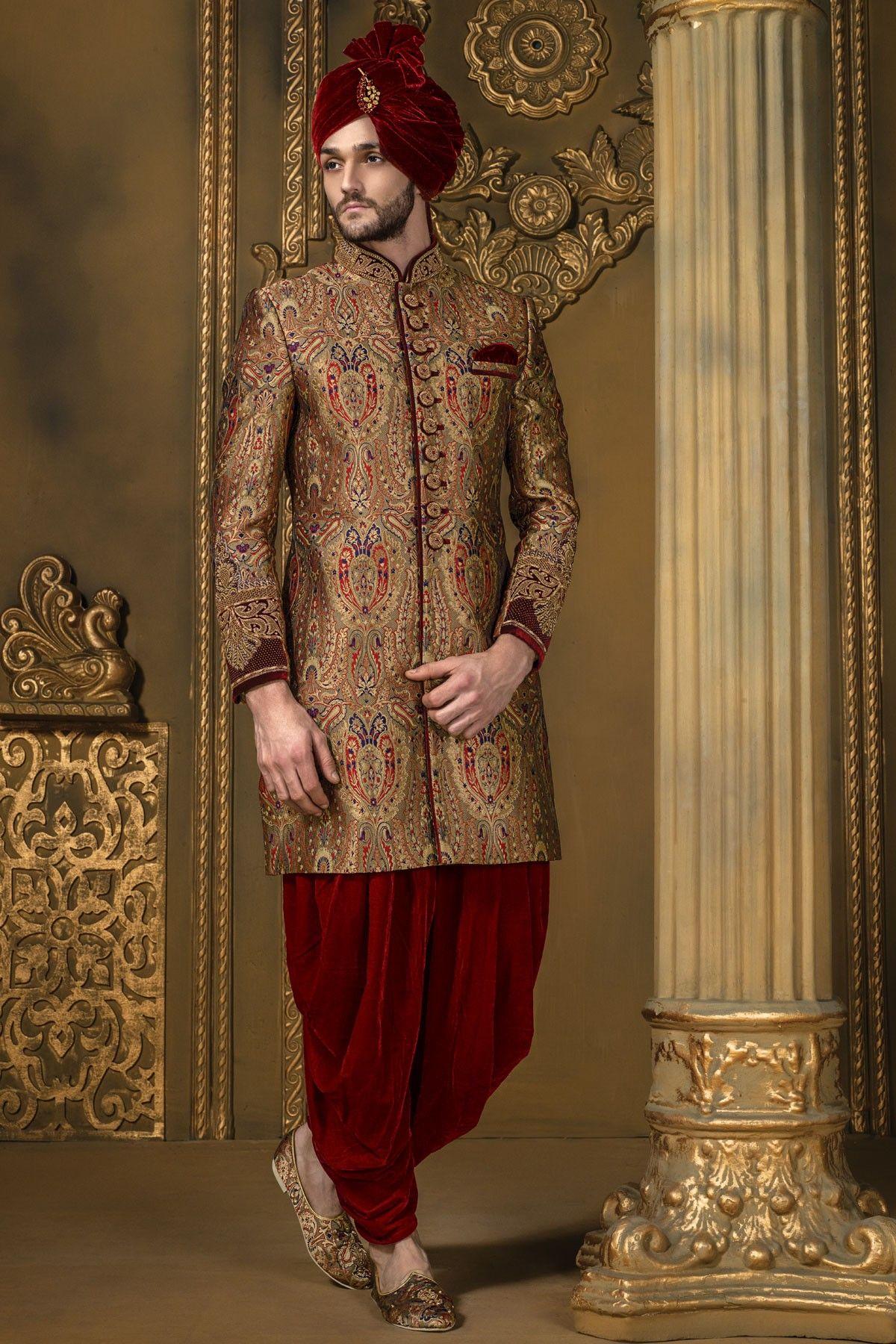 Antique gold multicoloured khinkwab bandh gala