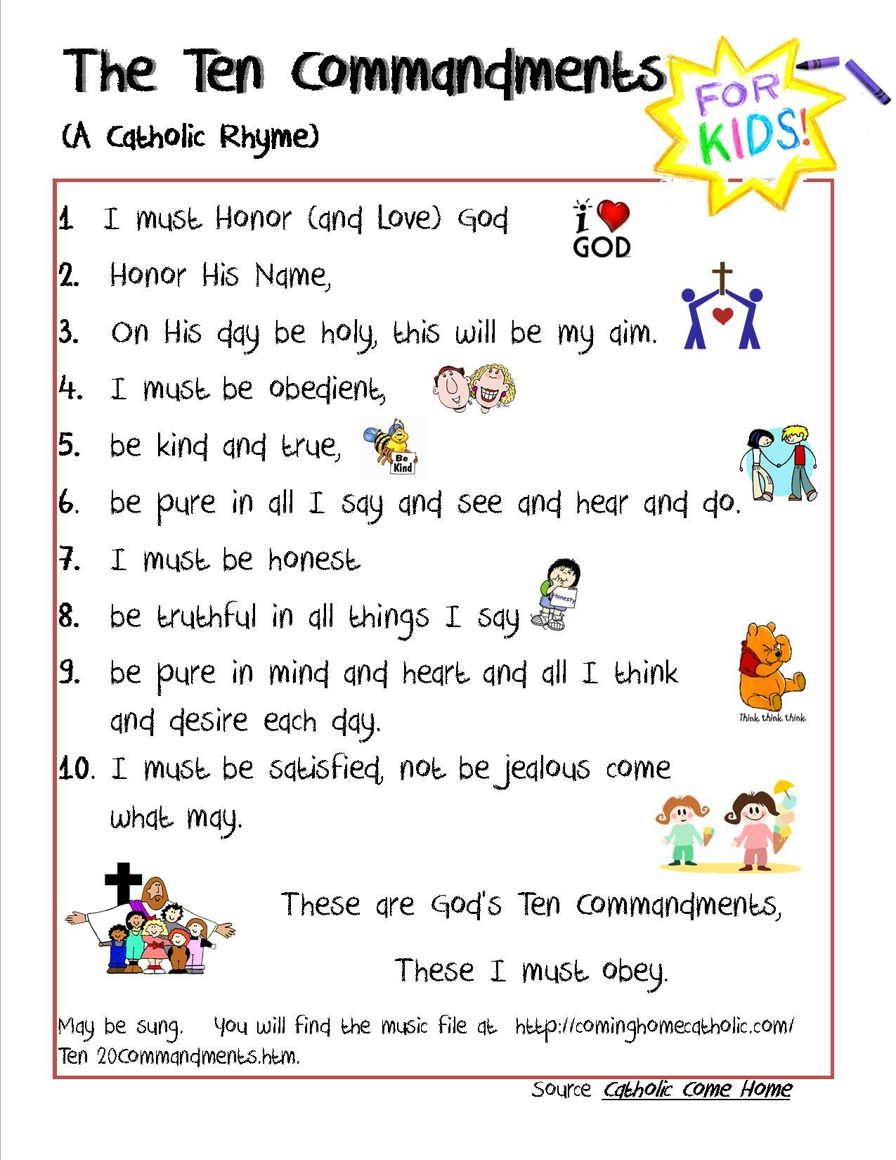Catholic 10 Commandments For Kids Credit To This Site For