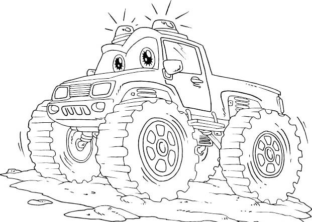 monster trucks flashing and coloring pages on pinterest