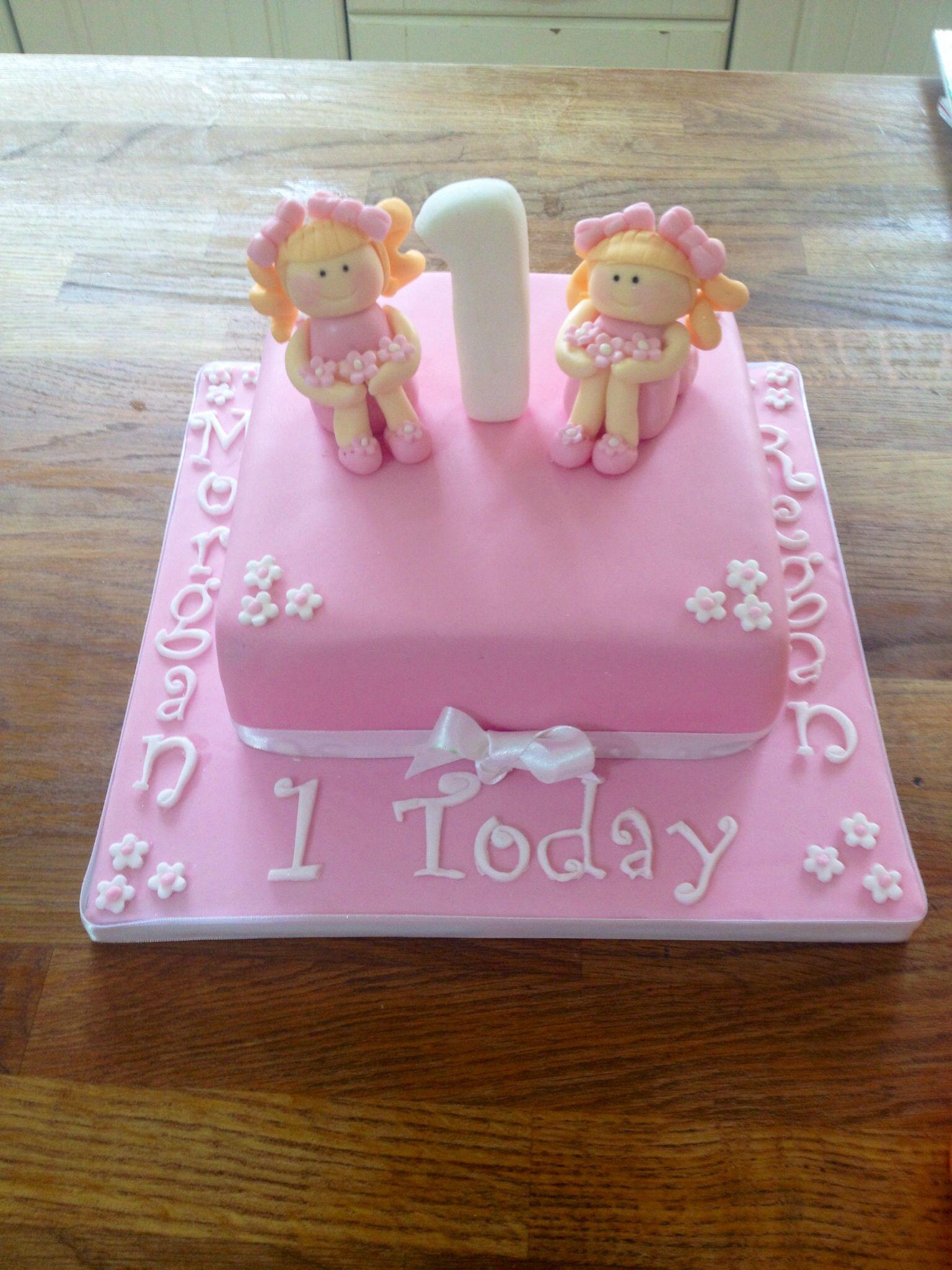 Twin Girl First Birthday Cake