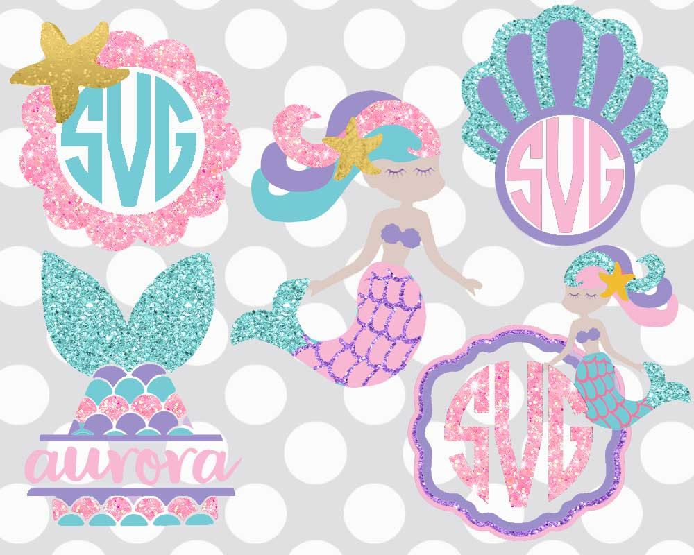 MERMAID svg, mermaid monogram svg, mermaid party shirt