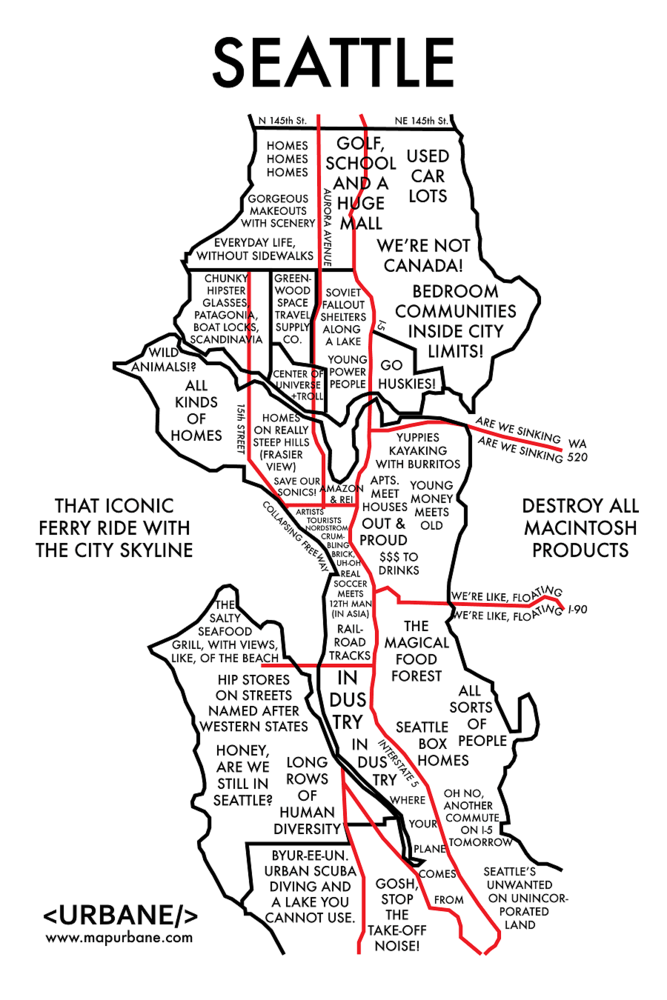 8 Maps That Show Each City By Stereotype Seattle, Maps
