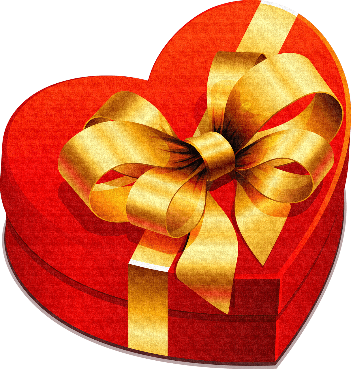 Large Heart Gift Box with Gold Bow Clipart Liebe