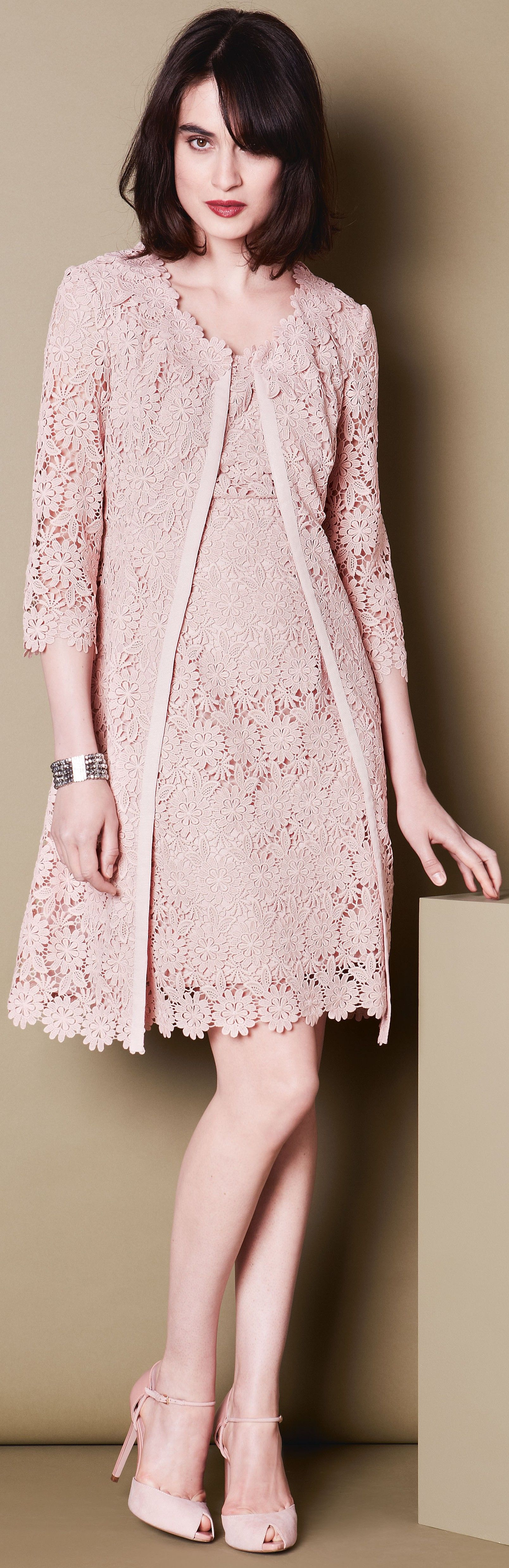 pinky beige / neutral pink lace dress for wedding or event