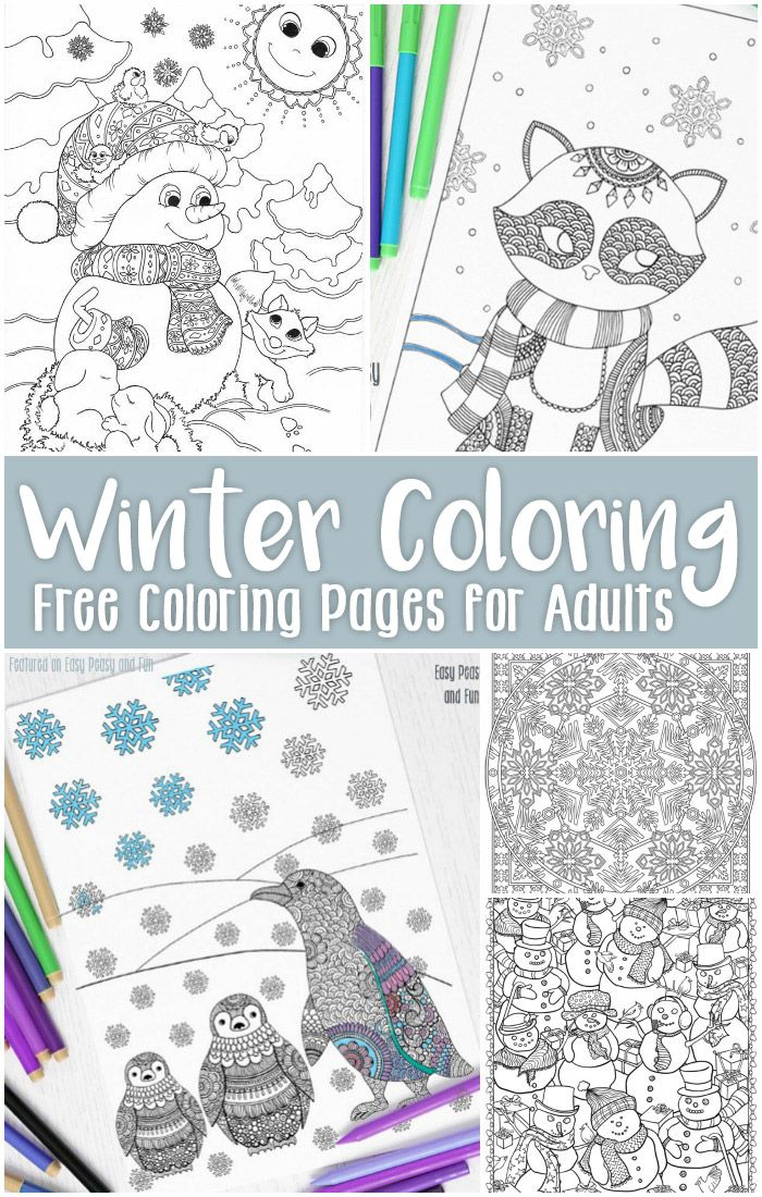 Free Printable Winter Coloring Pages for Adults Easy