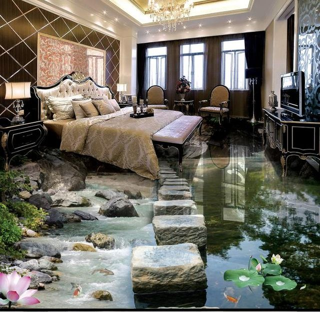 cleft and pond artwork in 3d tiles design with flowers