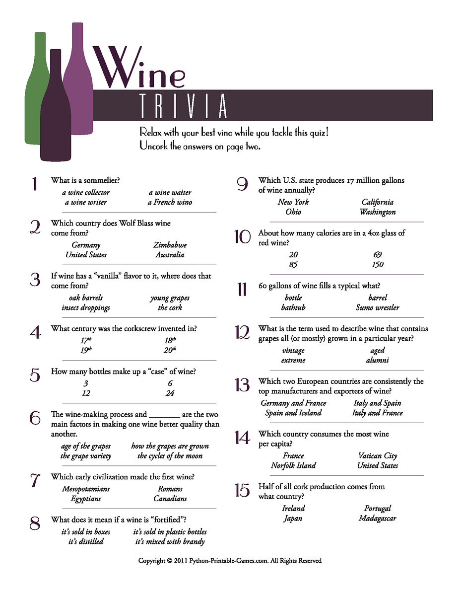wine trivia WineO's Pinterest Trivia, Wine and Wine