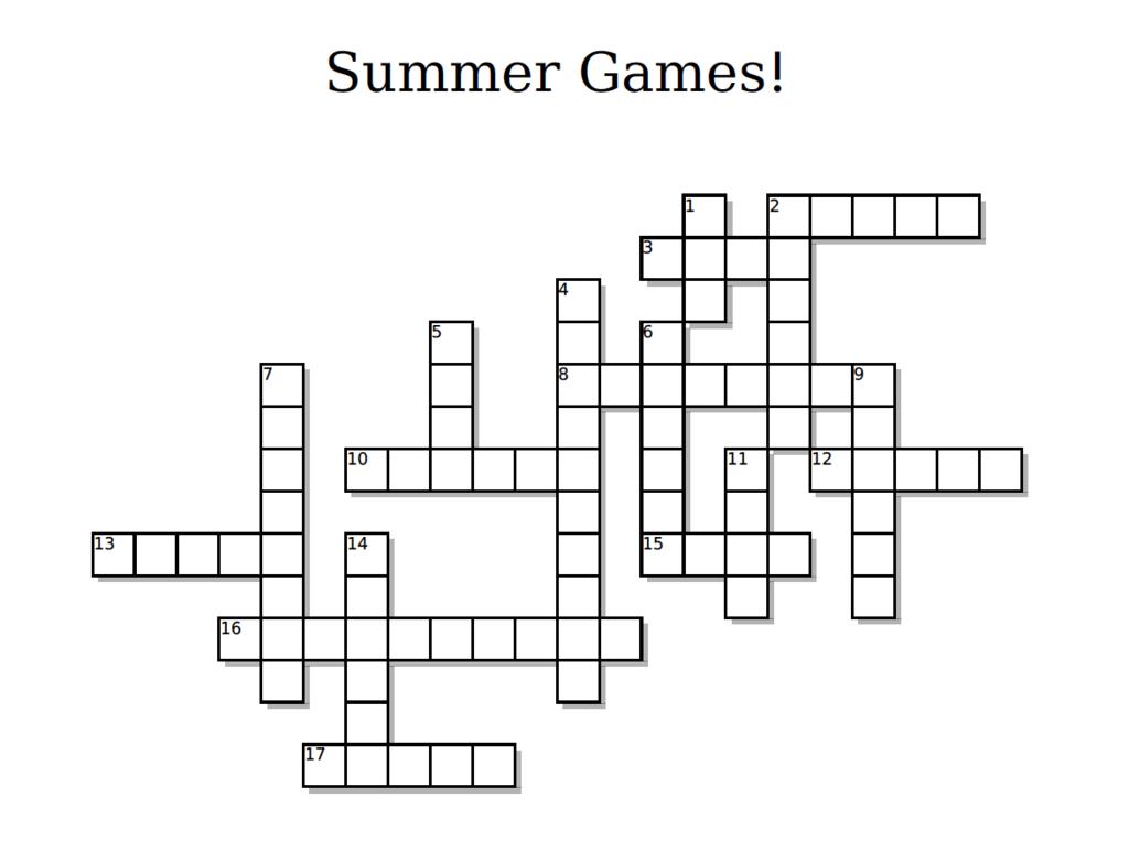 Summer Olympics Crossword Puzzle