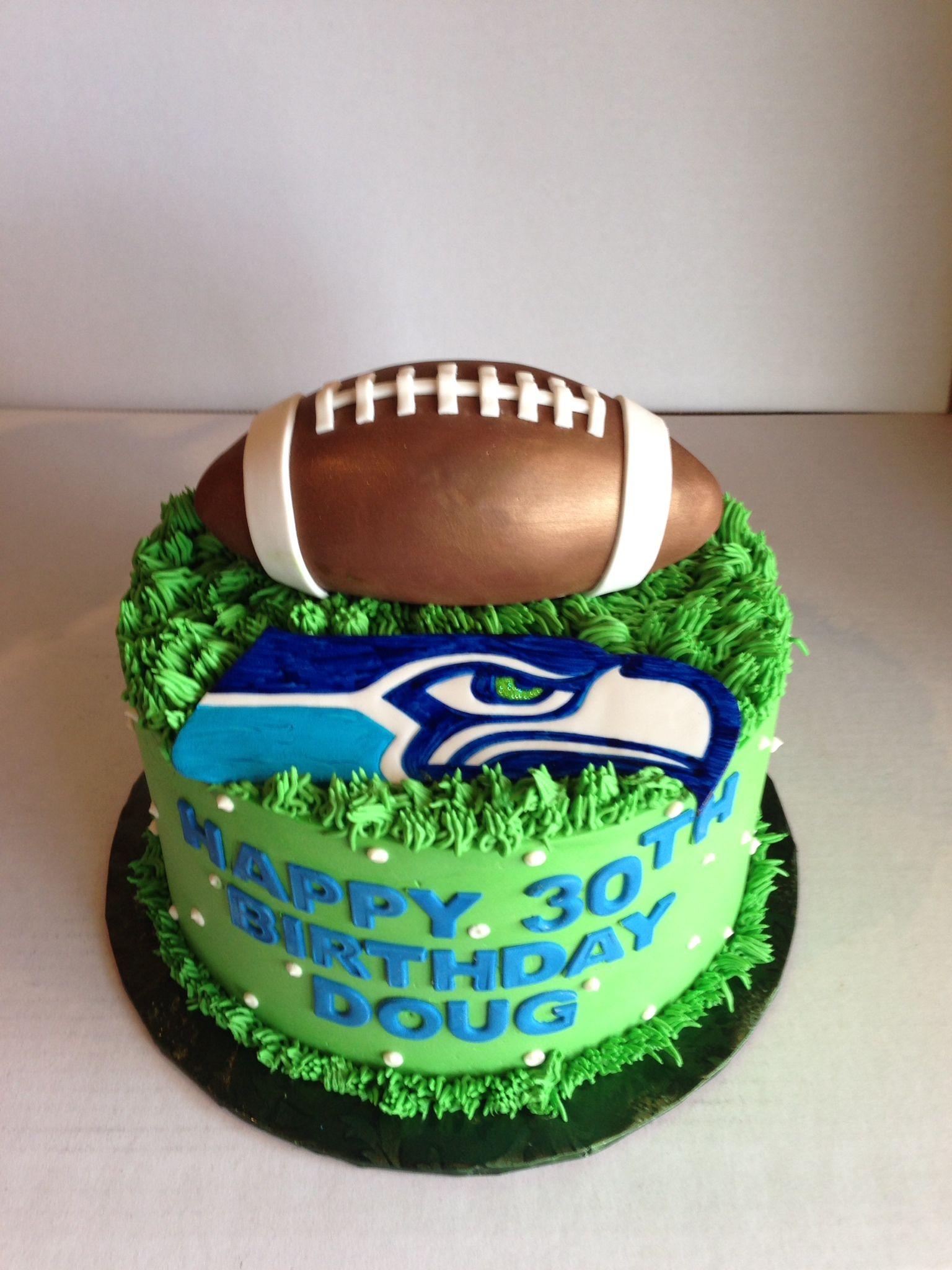Seahawks Birthday Cake With Fondant Football