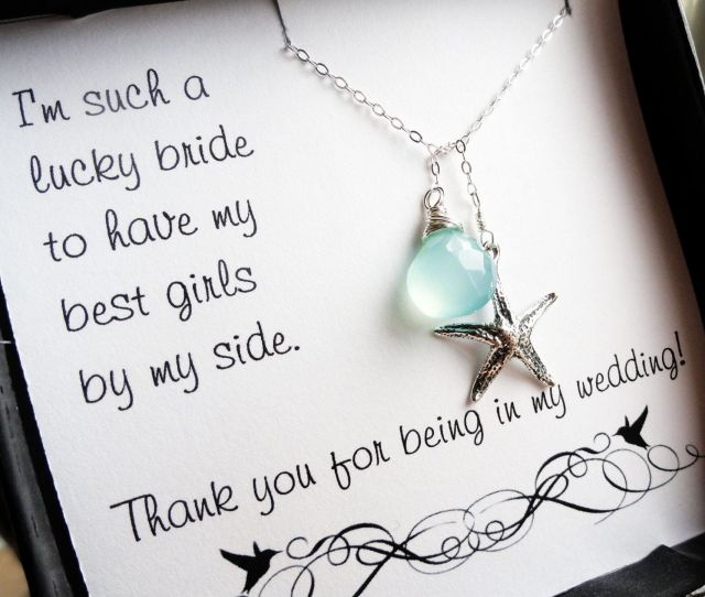 Bridesmaid Thank You Card With Aqua Necklace Bridal Party Gift Set Starfish Y Necklace Be My Bridesmaid Bridesmaid Gifts Otis B
