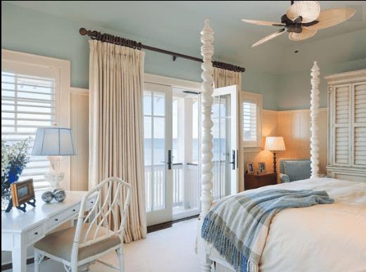 Pastel Beach Bedroom. Cream Beadboard, Blue Ceiling. Large