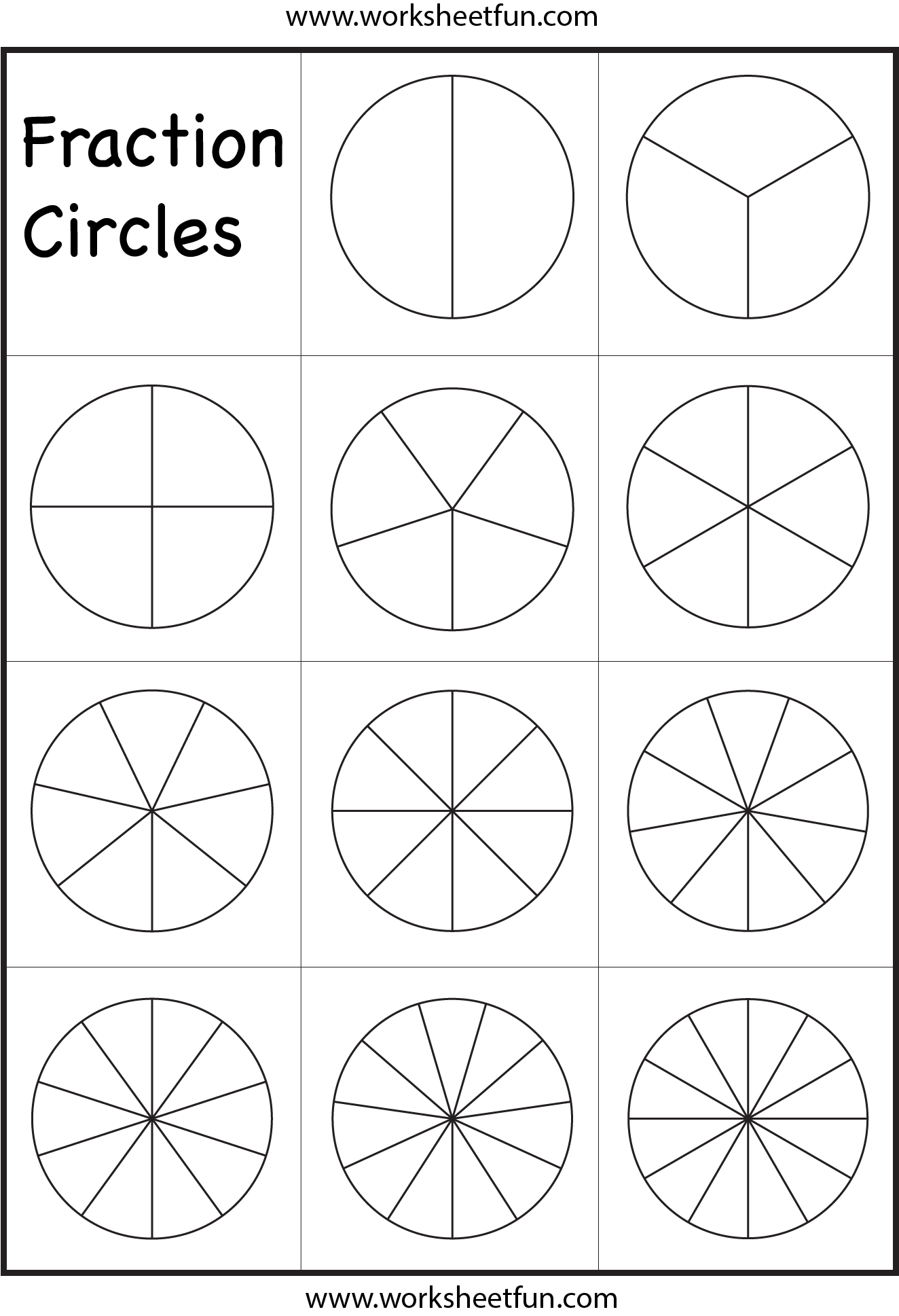 Fraction Circles Worksheet