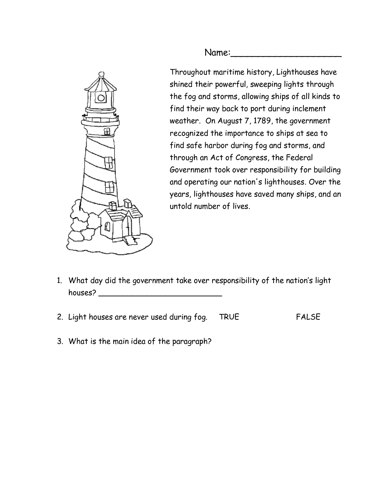 Lighthouse Worksheets Printable