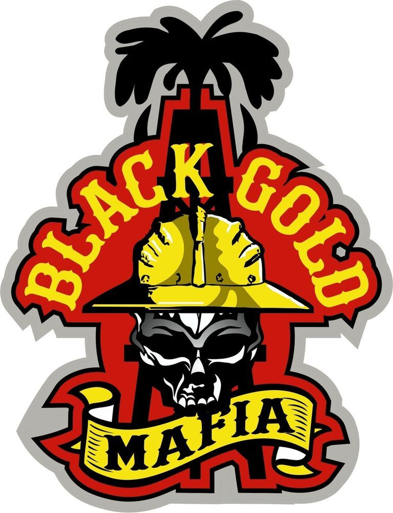 "3 Black Gold Mafia Hard Hat Helmet Sticker ""Sons of Coal"