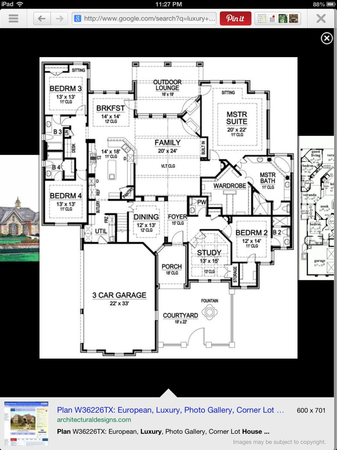 One story luxury house plan 4 bedroom large kitchen and