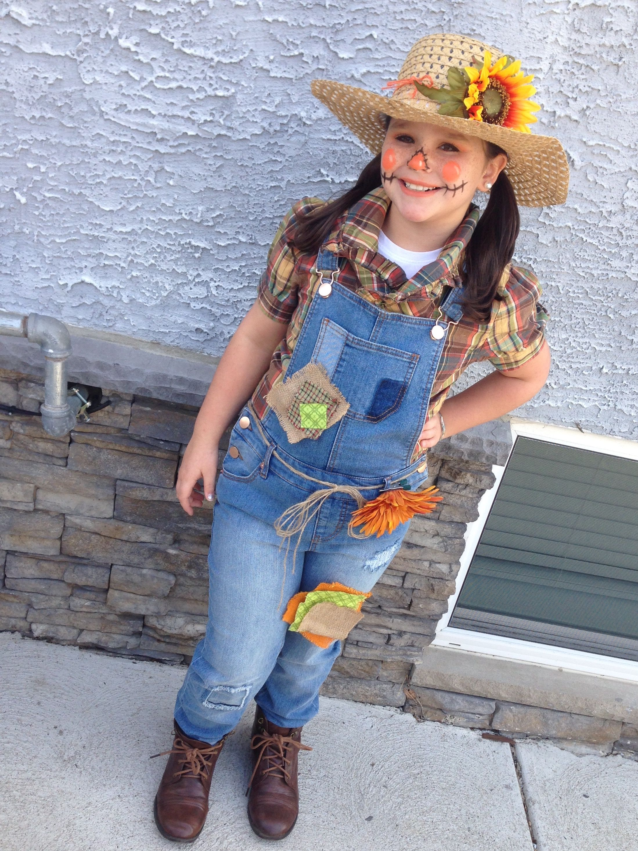 DIY Scarecrow costume, cute makeup and patches. Used a