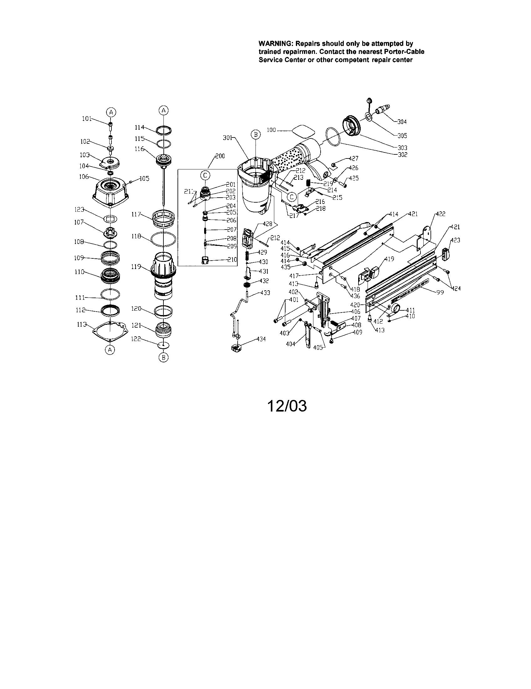 Finish Nailer Diagram Amp Parts List For Model Fn250b Porter