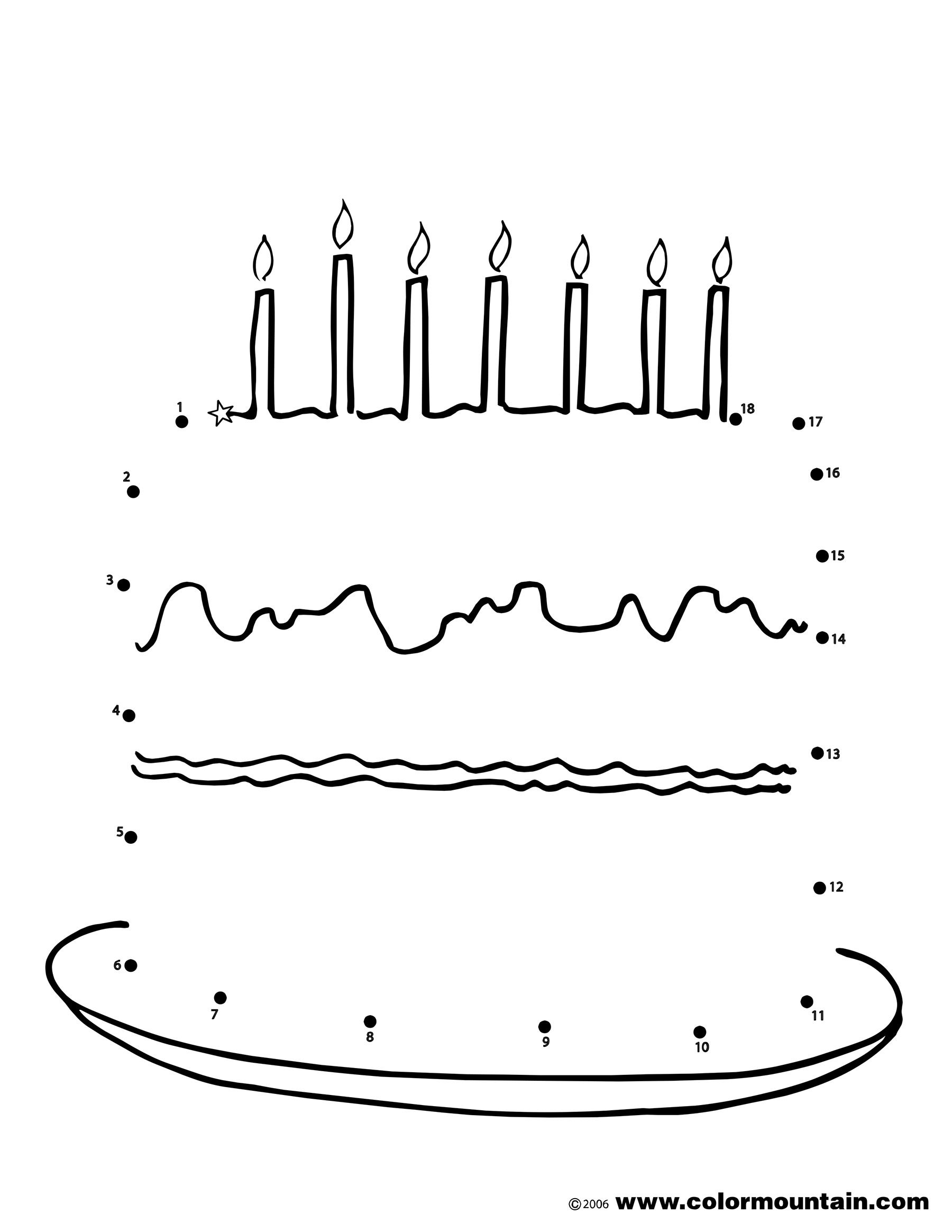 Birthday Cake Dot To Dot Activity Page Coloring Page