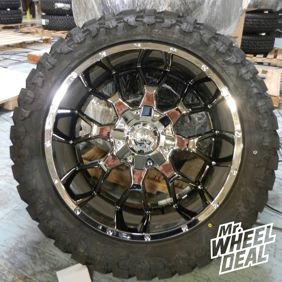 "22x12"" Mayhem Warrior Chrome wheels with LT35x12.50R22"