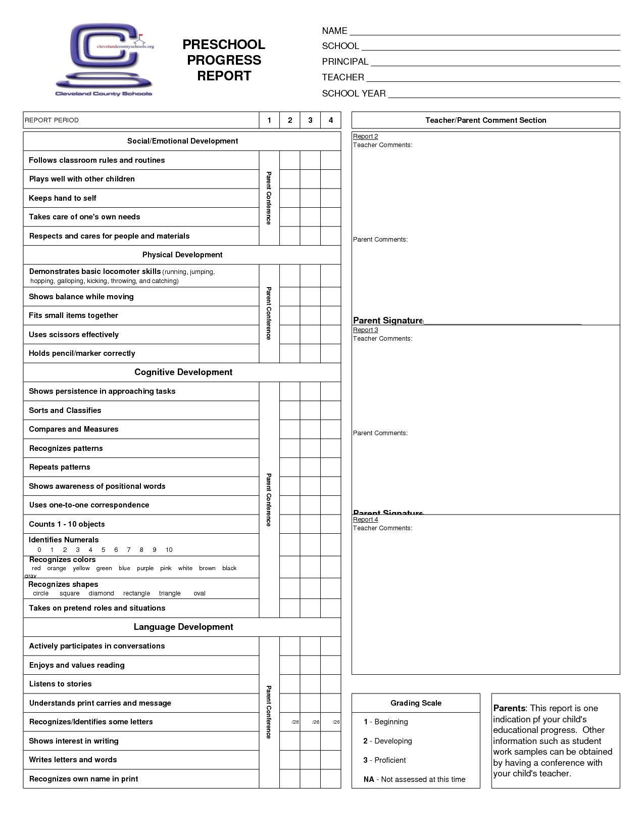 Preschool Progress Report Cards