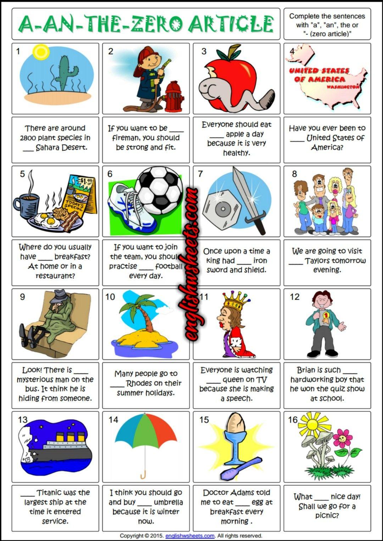 Articles Esl Printable Gap Fill Grammar Exercise Worksheet