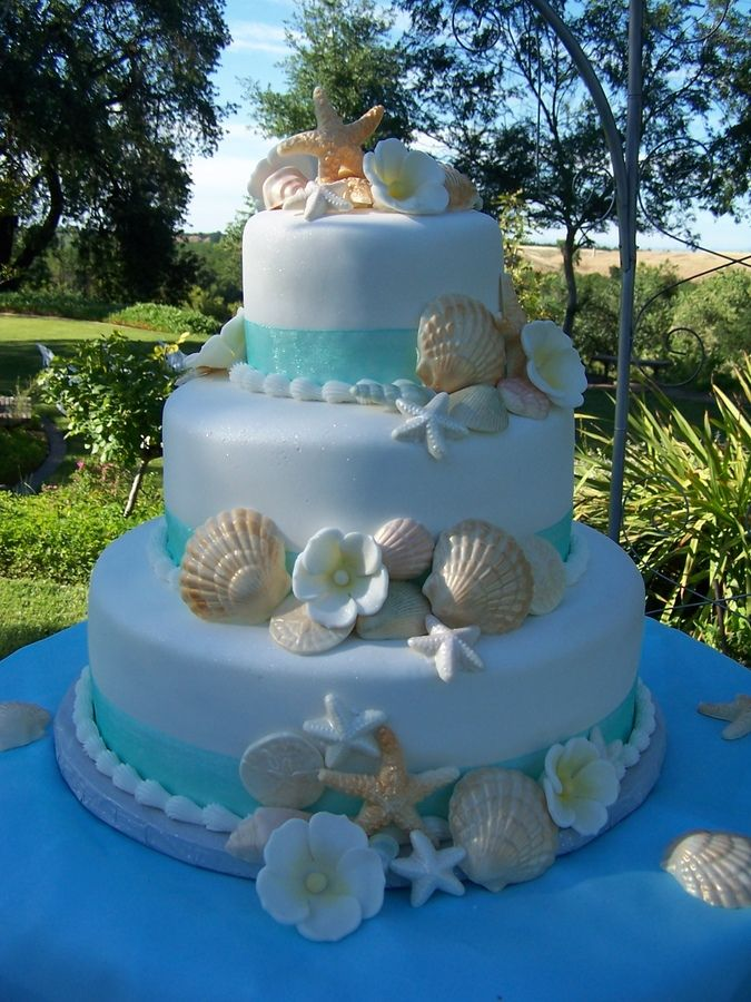 Beach Theme Wedding Cake — Seashells /Ocean/Beach sandi