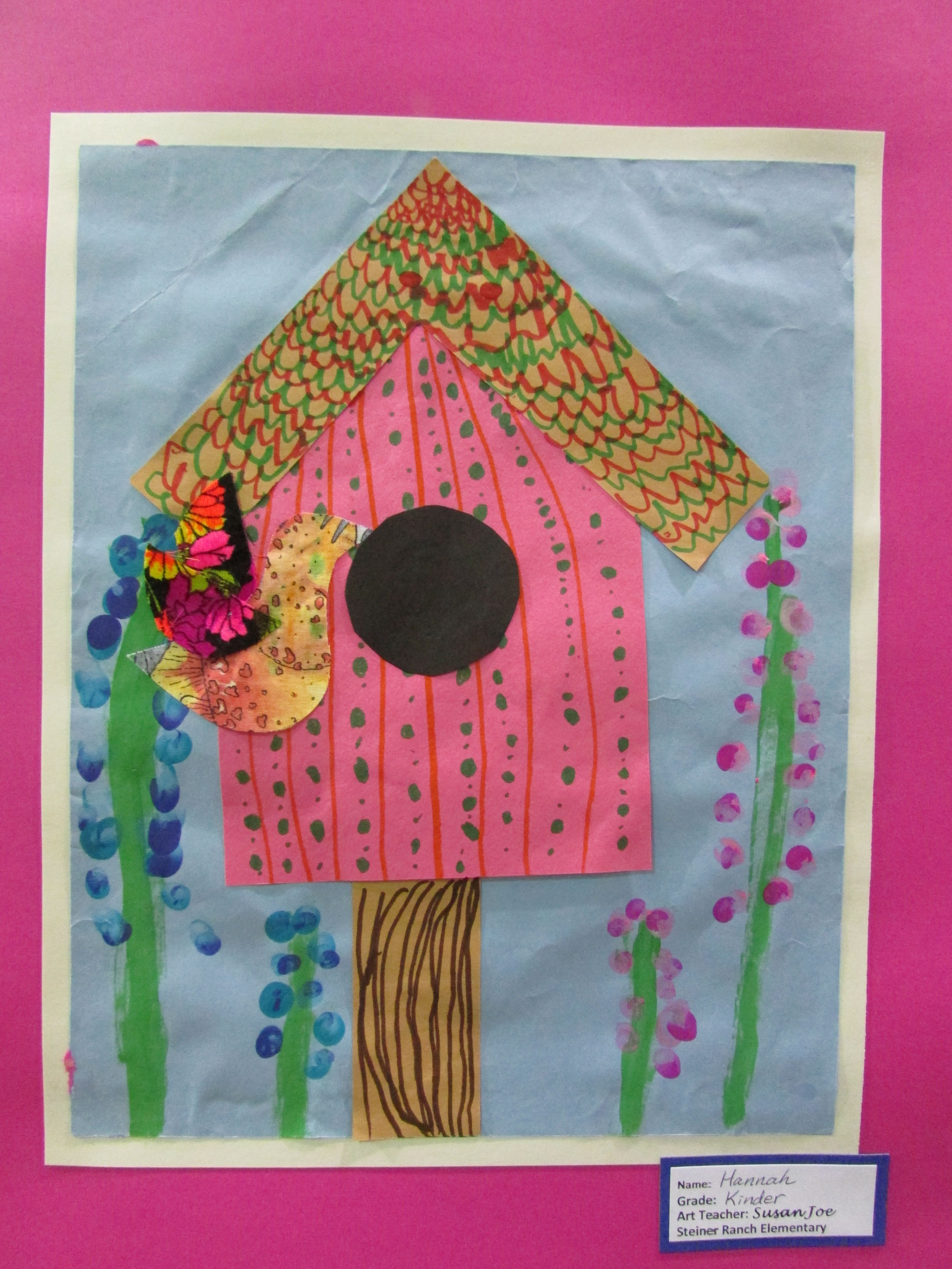 Kindergarten Bird House Collage Approx 12 X 18 Lesson