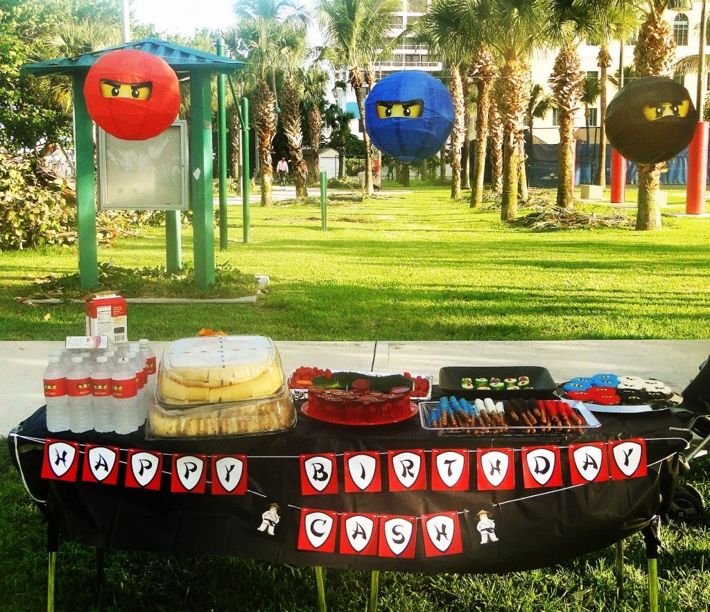 Ninjago Party Ideas Paper Lanterns Over The Food Table